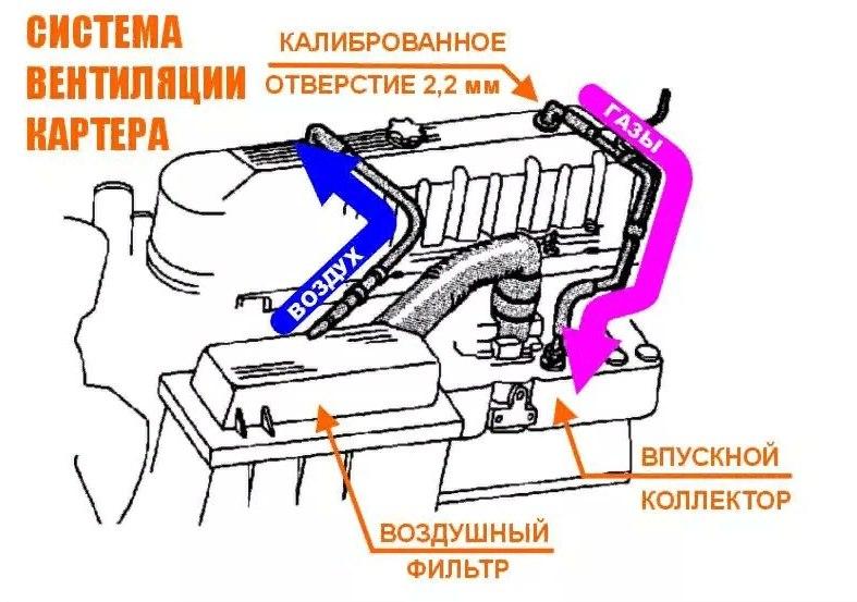 как работает система вентиляции картерных газов opel