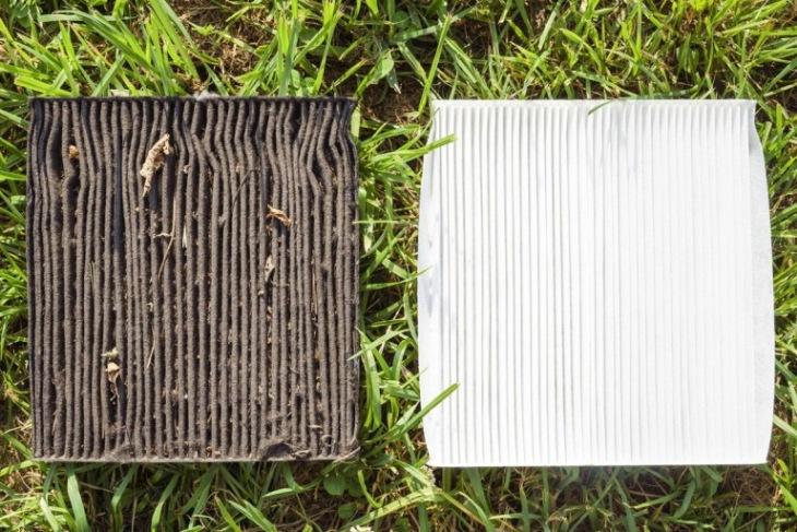 Грязный и чистый салонные фильтры